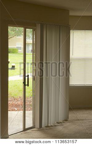 Sliding Door In Empty Apartment