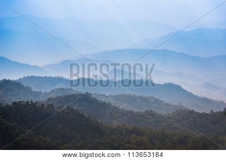View Of Morning Mist At Tropical Mountain Range