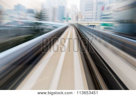 Motion blurred monorail moving
