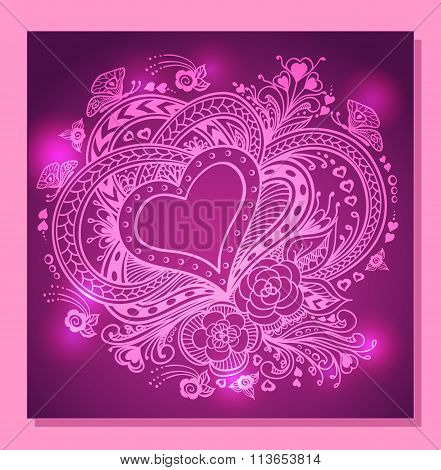 Zen-doodle Heart frame with flowers butterflies  in  lilac  pink