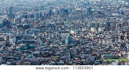 Panoramic aerial view of Tokyo residence area