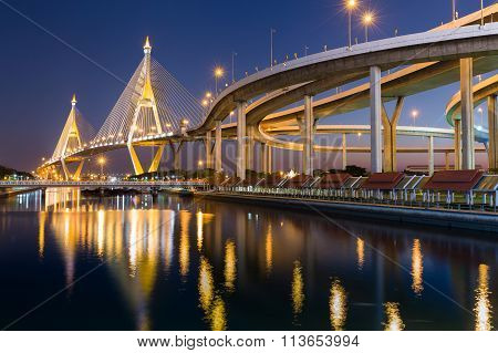 Industrial Ring Road Suspension Bridge crosses main river