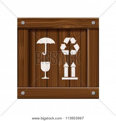 Wooden Box. Stock Illustration.