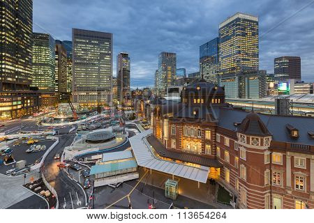 Night view of Tokyo Station Tokyo, Japan cityscape