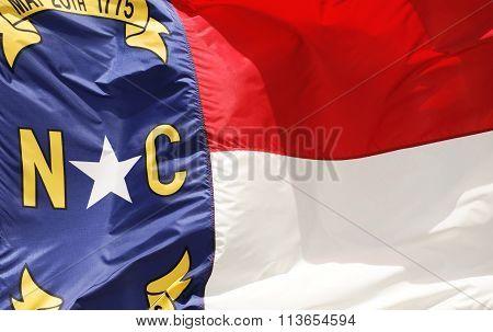 close up on North Carolina State flag