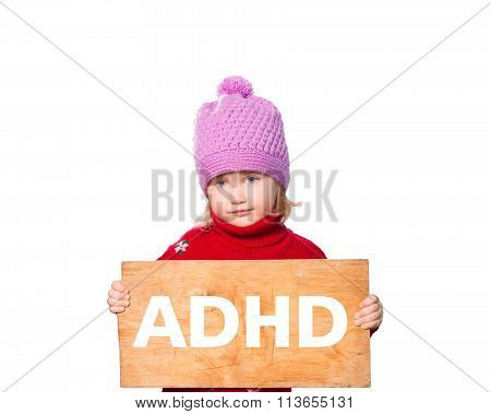 Girl Holding Board With Inscription Adhd.