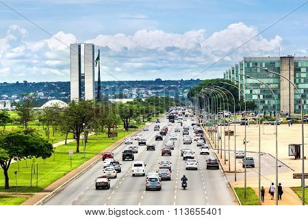 Traffic Next To Congresso Nacional In Brasilia, Capital Of Brazil
