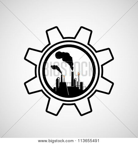 Silhouette Of Industrial Factory.