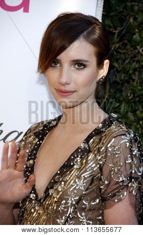 Emma Roberts at the 21st Annual Elton John AIDS Foundation Academy Awards Viewing Party held at the West Hollywood Park in Los Angeles, USA on February 24, 2013.