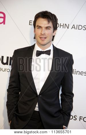 Ian Somerhalder at the 21st Annual Elton John AIDS Foundation Academy Awards Viewing Party held at the West Hollywood Park in Los Angeles, USA on February 24, 2013.