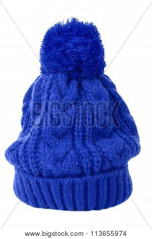 Blue Knit Hat or Bobble Hat isolated on white