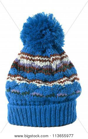 Blue Winter Bobble Hat or ski hat isolated on white
