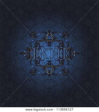 Seamless Blue Lace Pattern On Dark Blue Background