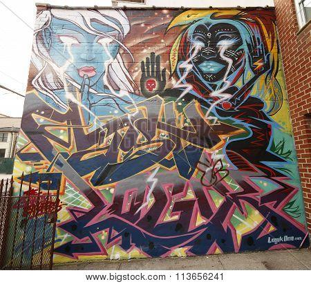 Mural art at Wellington Court in Astoria section in Queens