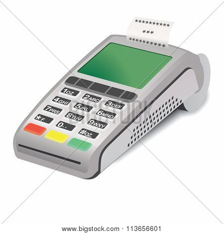 POS terminal with printed reciept on white background