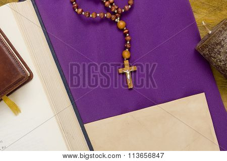 Canonical Crucifix On The Purple Fabric