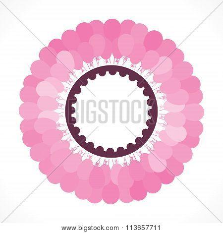 pink balloon bunch round birthday label design
