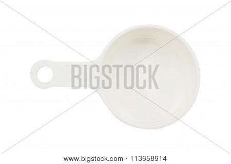 empty measuring cup on white background .