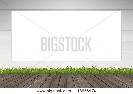 Banner advertising on wall concrete and wood fall