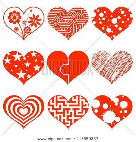 Set Of Hearts. Stock Illustration.