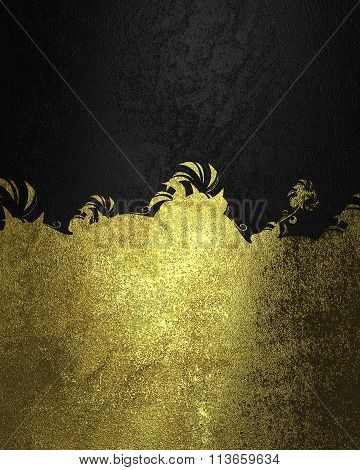 Black Background And Gold Ornament. Element For Design. Template For Design. Copy Space For Ad Broch