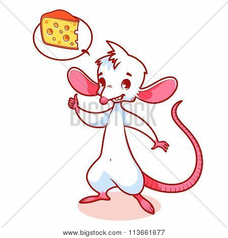 Cute White Mouse Thinking About Cheese.