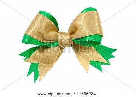 Gold And Green Satin Gift Bow Ribbon
