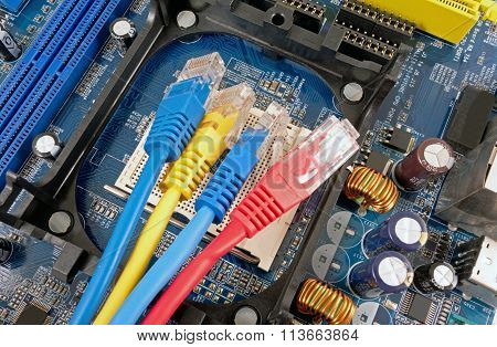 Colorful Network Cable And Computer Motherboard