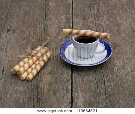 Coffee And Linking Of Tubular Cookies, Still Life