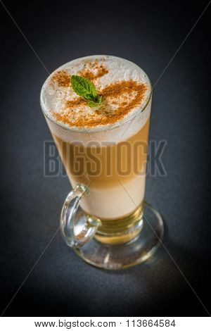 Latte cocktail with fresh mint