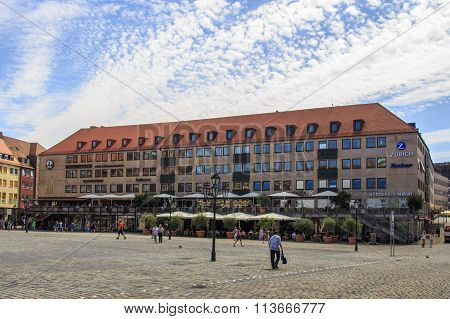 NUREMBERG, GERMANY - AUGUST 23, 2015: Buildings surrounding the Nuremberg main market (Hauptmarkt) the city center of Nuremberg