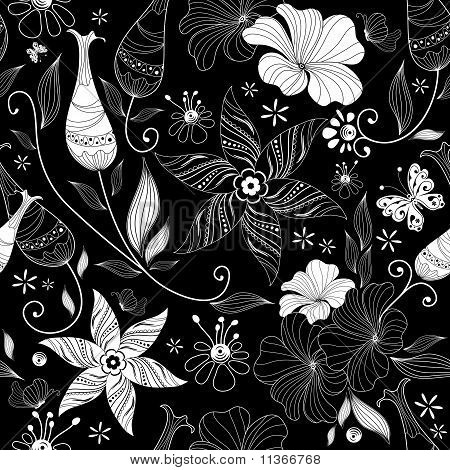 Black Effortless Floral Pattern