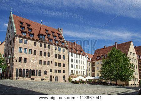NUREMBERG, GERMANY - AUGUST 23, 2015: Buildings at the Albrecht Duerer / Sebalder square in Nuremberg