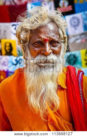 Old Indian Monk Portrait