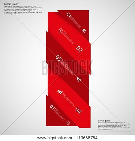 Light Illustration Infographic With Bar Askew Divided To Five Parts