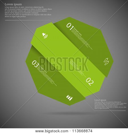 Dark Illustration Infographic With Octagon Askew Divided To Three Parts