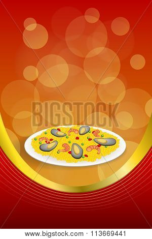 Background abstract food paella rice peas pepper shrimp mussel green red frame vertical gold ribbon