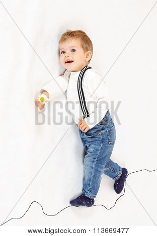 Brave Little Boy Scout Walking Along Imaginary Path
