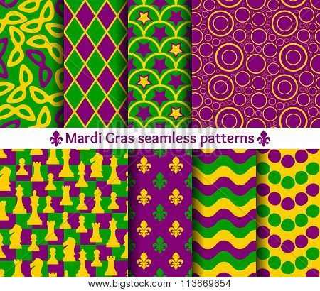 Set of seamless patterns for Mardi Gras. Traditional colors. Mask, chess, fleur de lis, circle and w