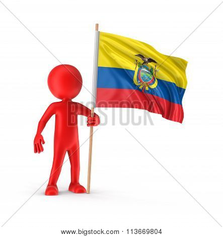 Man and Ecuadorian flag. Image with clipping path
