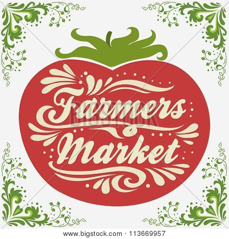 Typographic Vintage  Poster. Farmers Market.
