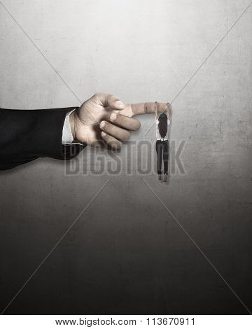 Asian Business Woman Hang On Large Finger