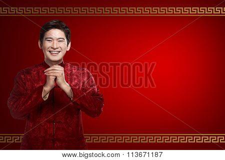 Chinese Man In Cheongsam Suit