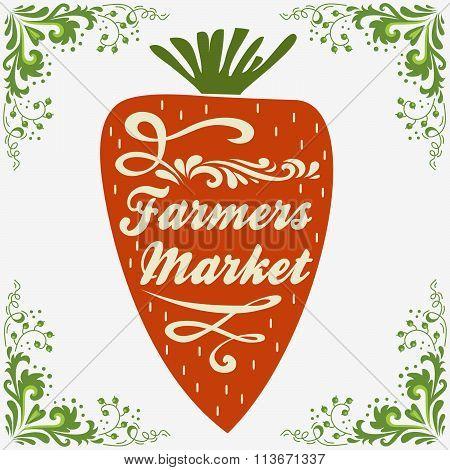 Typographic Vintage  Poster. Farmers Market.