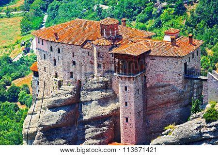View Of The Holy Monastery Of Rousanou-st. Barbara. Meteora, Greece