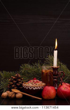Kutia traditional Christmas dish among the Slavs. Candle apples drink and pine