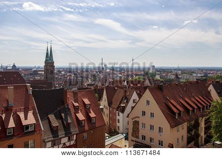 NUREMBERG, GERMANY - AUGUST 23, 2015: Cityscape of the old town of Nuremberg the picture was shot from the Nuremberg Castle