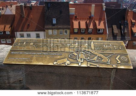 Golden Sign Of The Nuremberg Skyline And The Nuremberg Castle, Germany, 2015