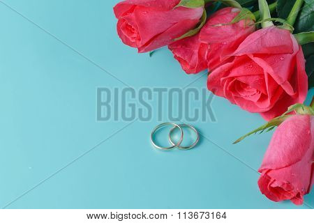 Roses On Auqamarine Background