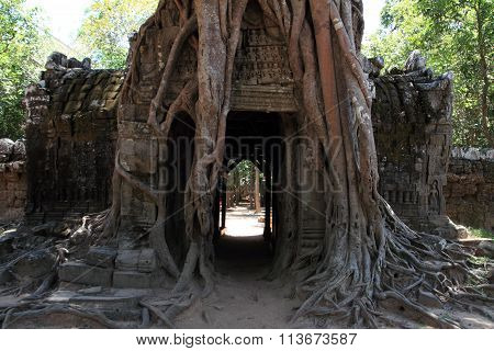 Eastern gopuram at Ta Som in Angkor Siem Reap Cambodia
